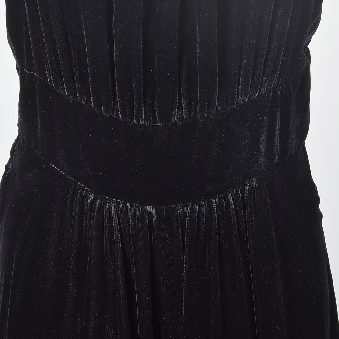 1930s Black Velvet Dress with Full Skirt