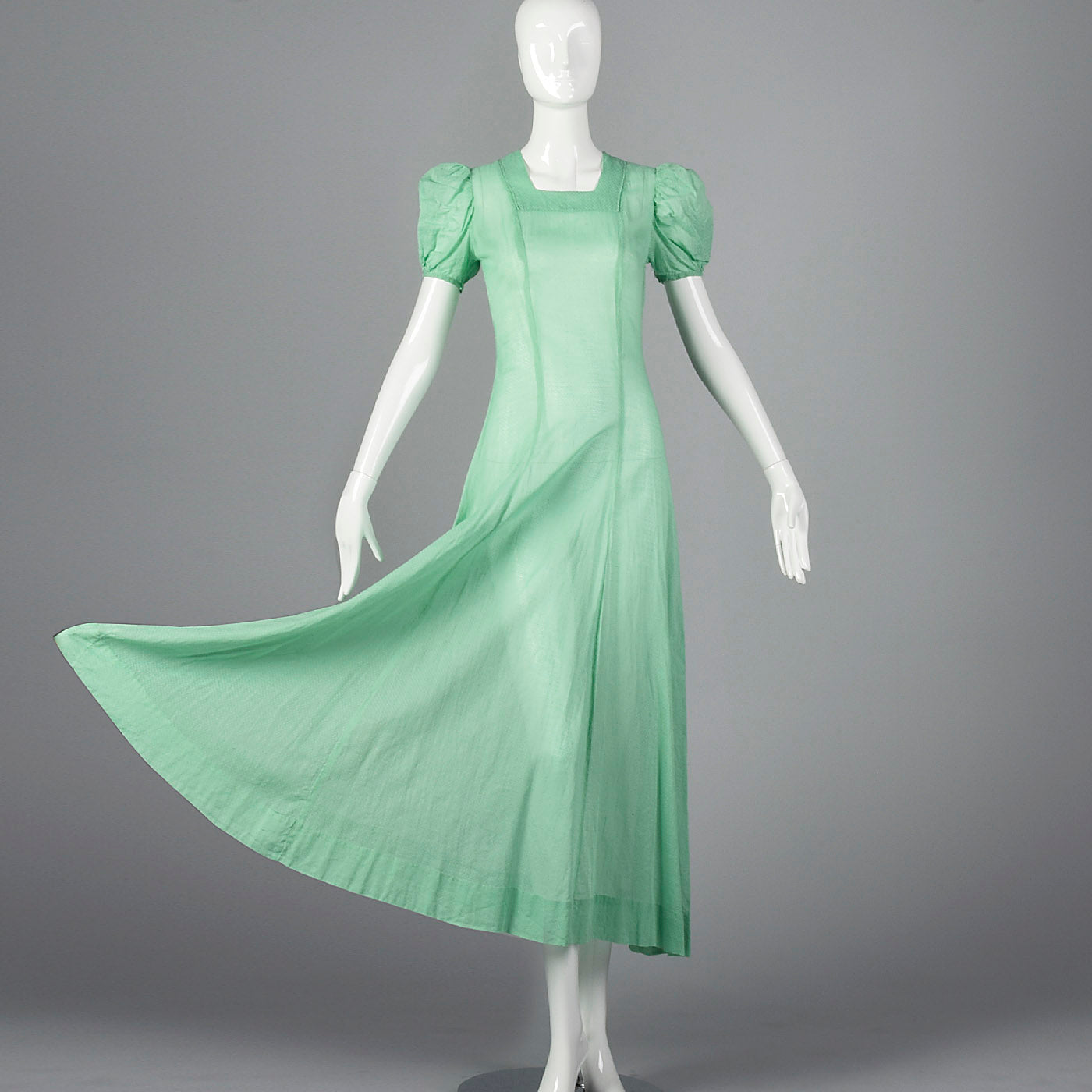 1930s Sheer Green Dress with Swiss Dots
