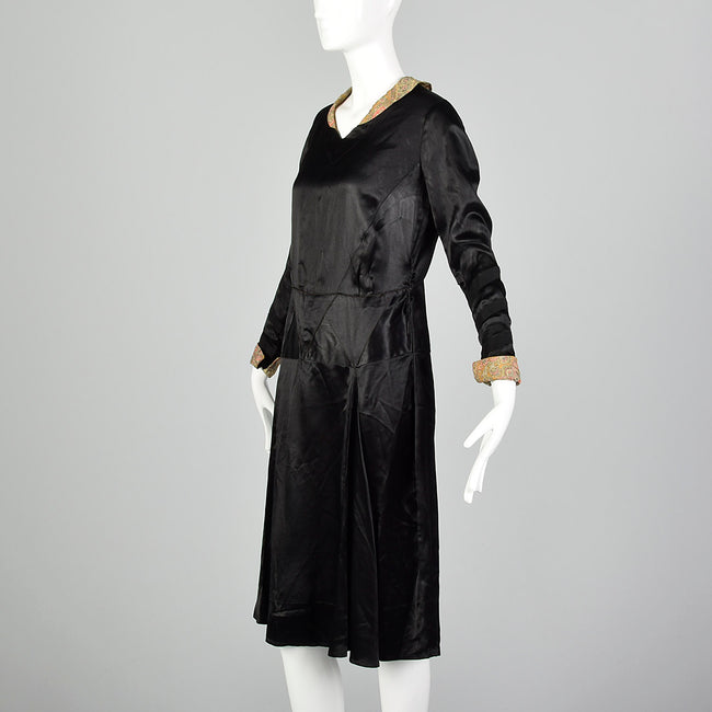 Small 1920s Liquid Satin Deco Dress
