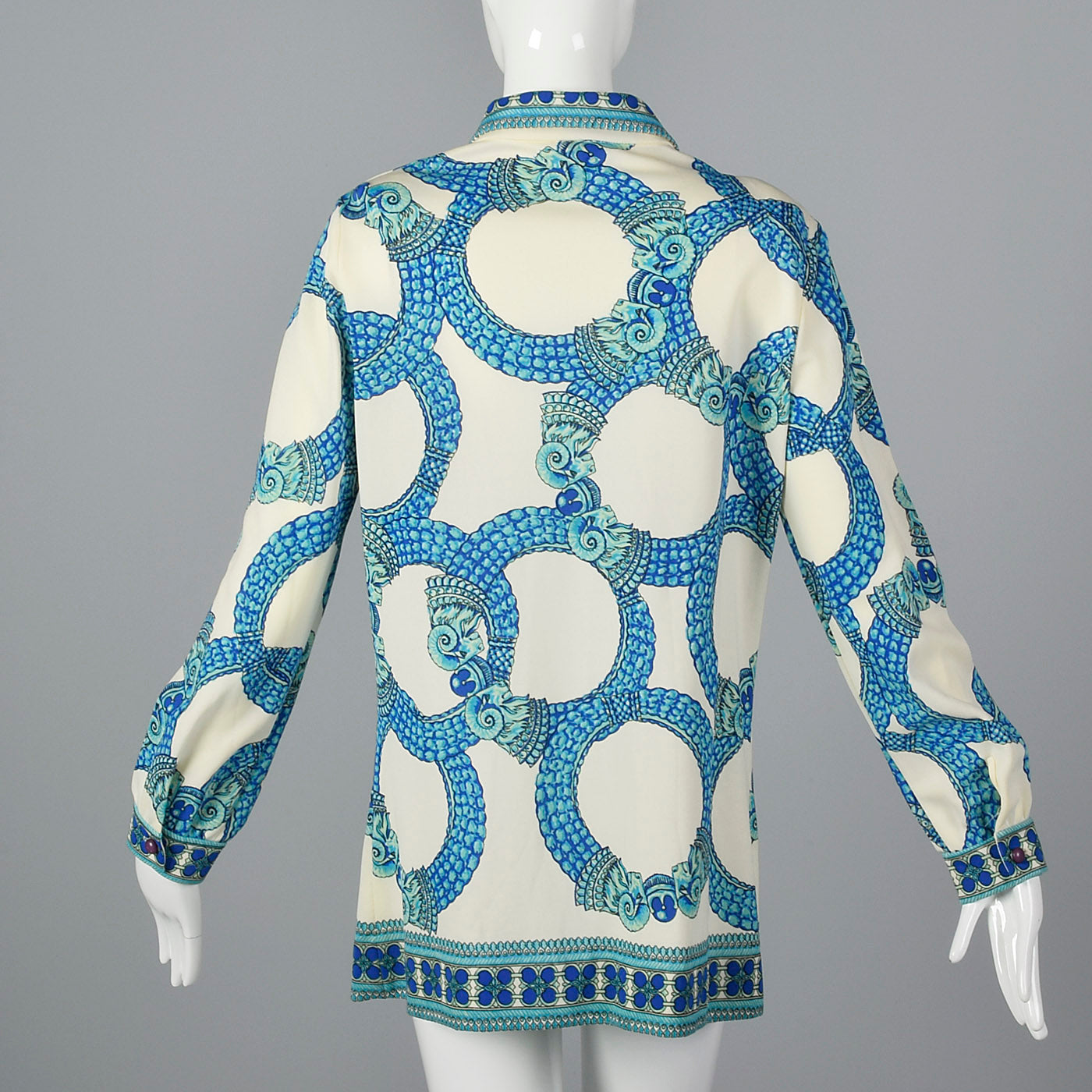 1970s Mr. Dino Signature Print Button Up Tunic