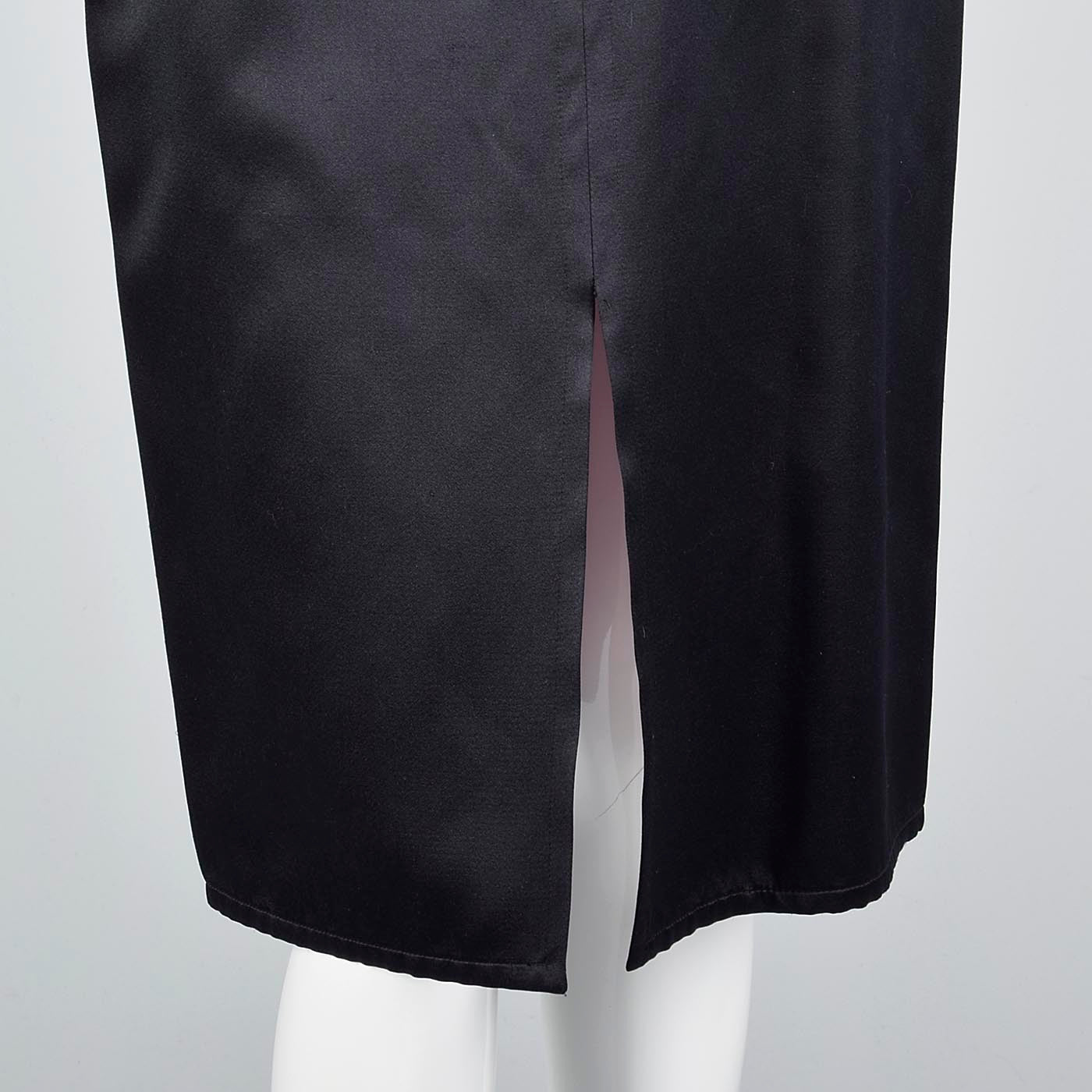 Yves Saint Laurent Rive Gauche Black Satin Satin Skirt Suit with Hot Pink Lining