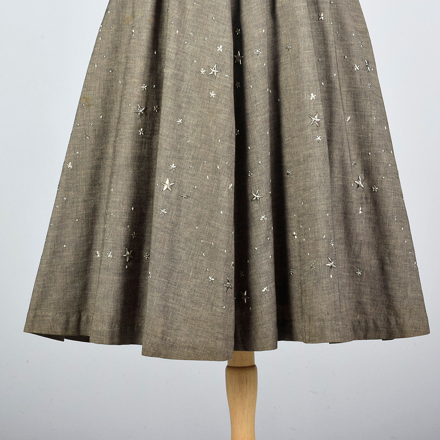 1950s Black Linen Dress with Silver Star Studs