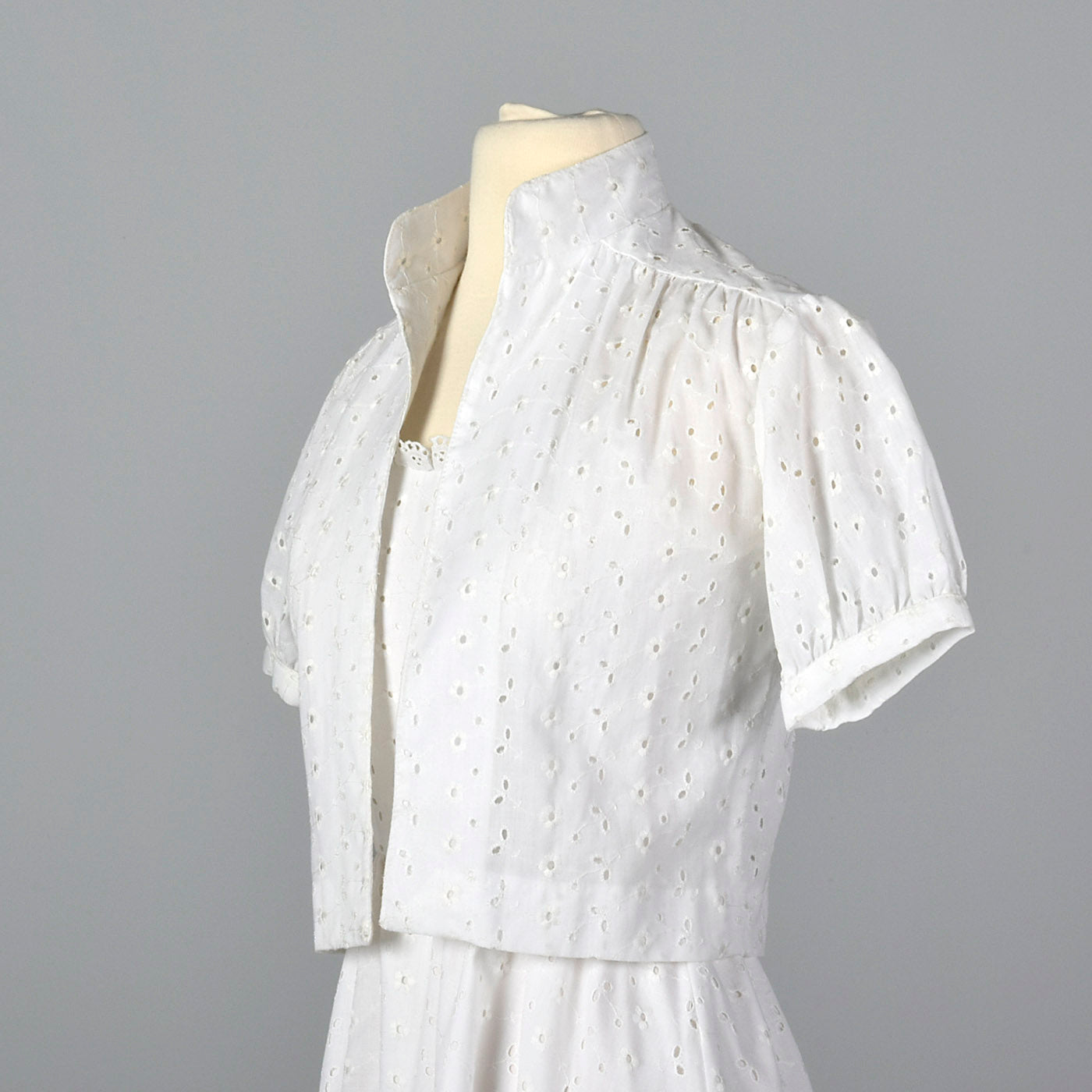 1960s Lanz White Eyelet Dress with Jacket