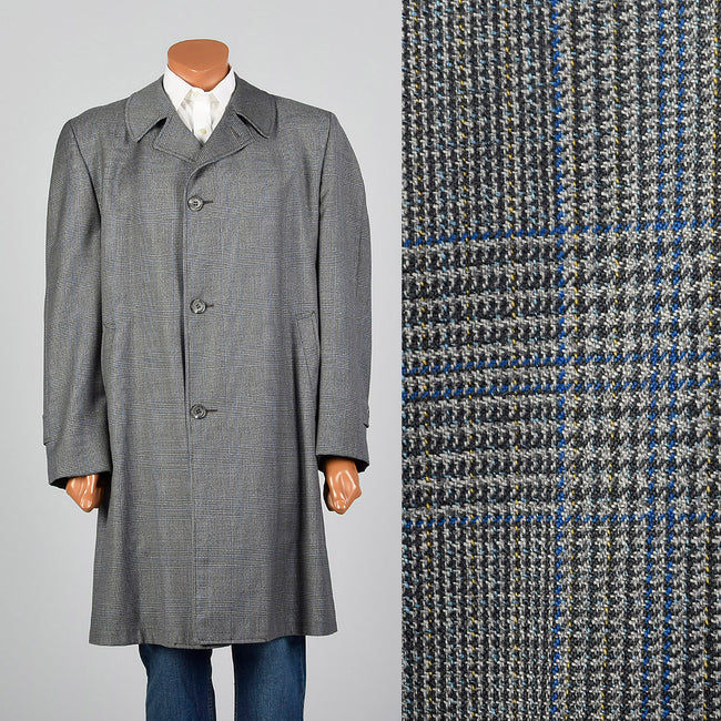 1960s Gray Plaid Over Coat