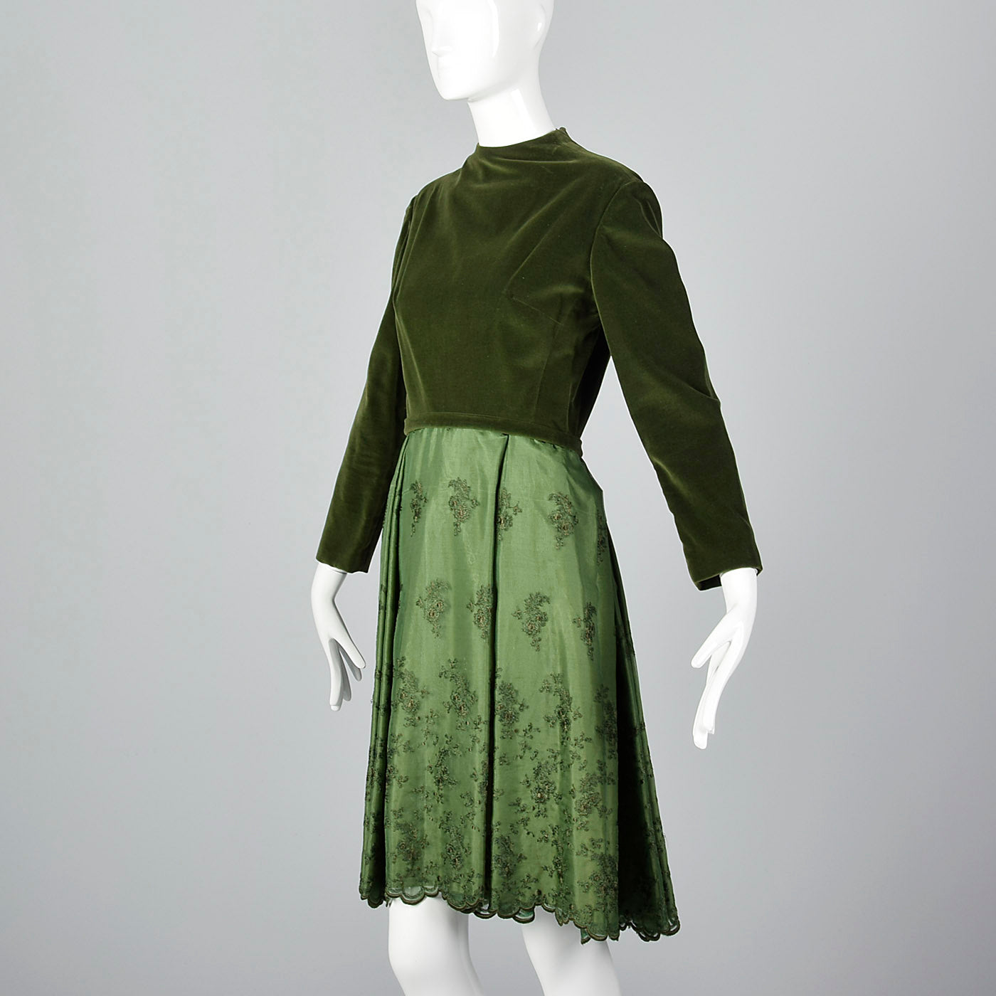1960s Green Dress with Velvet Bodice
