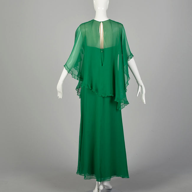 Medium 1970s Mollie Parnis Green Evening Gown Formal Maxi Dress Cape