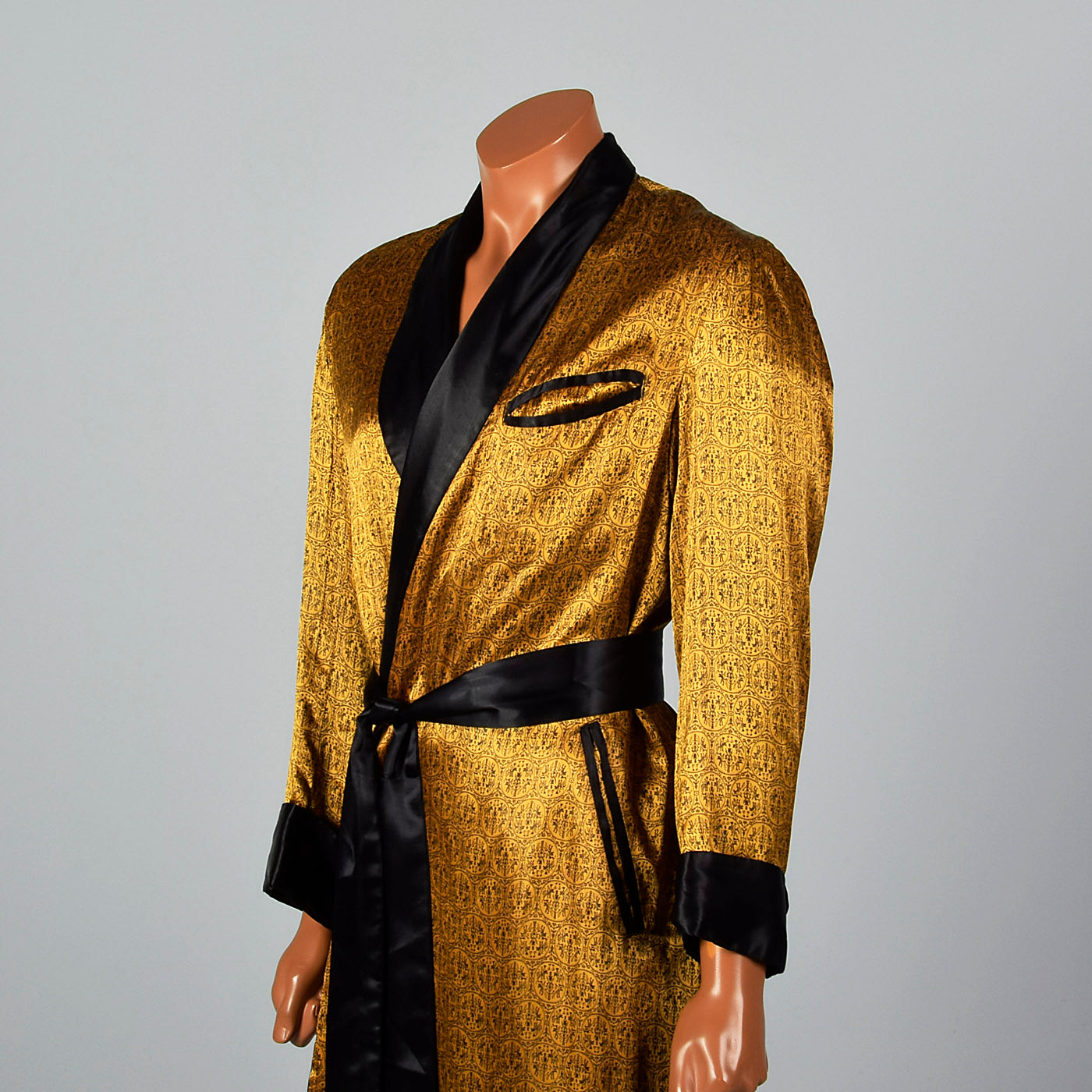 1950s Mens Gold Robe with Black Trim