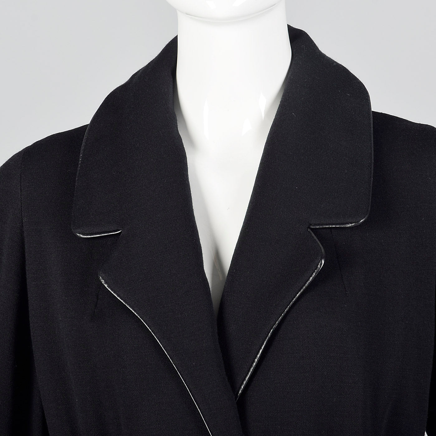 1950s Black Knit Trench Coat with Red Lining