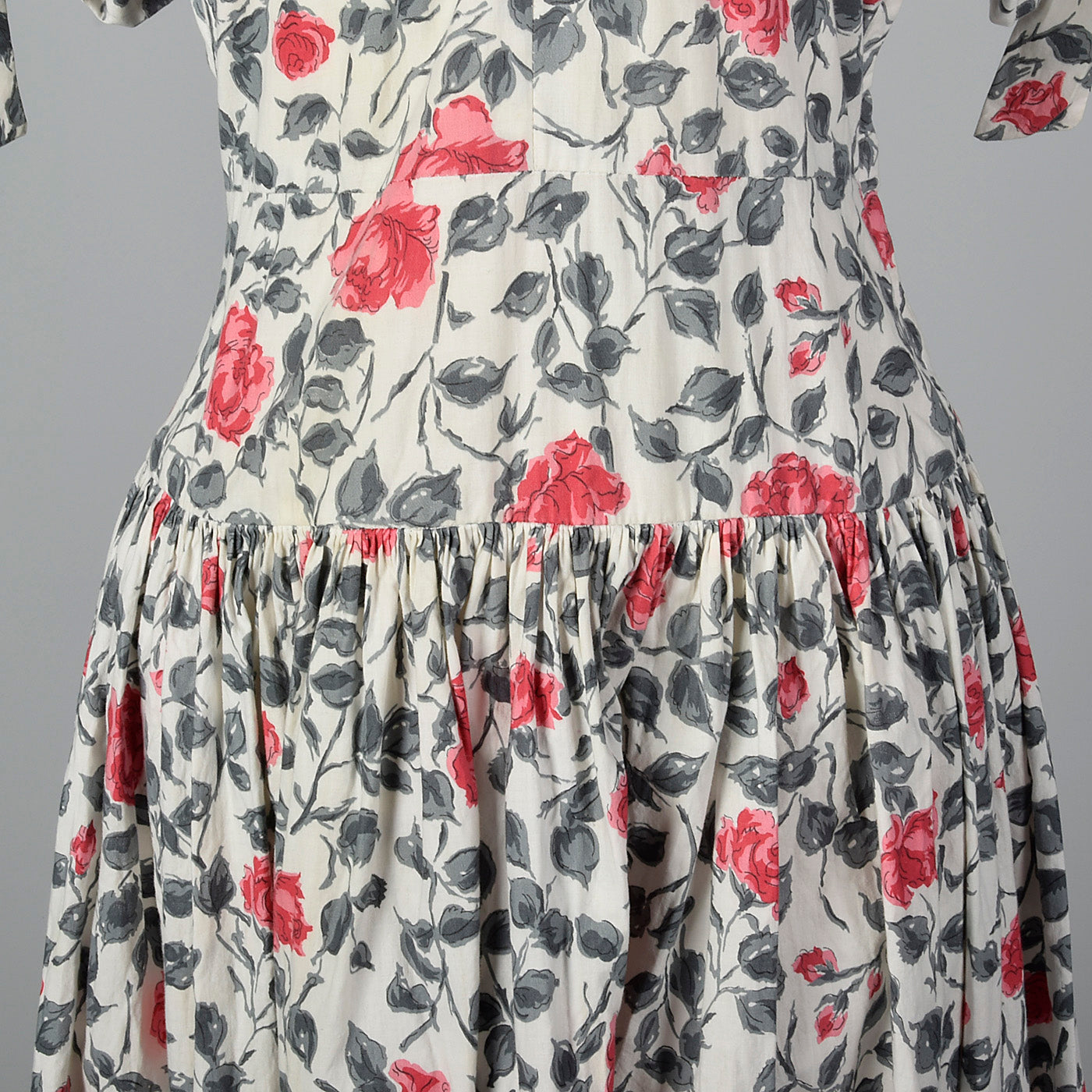 1950s Floral Print Dress with Drop Waist