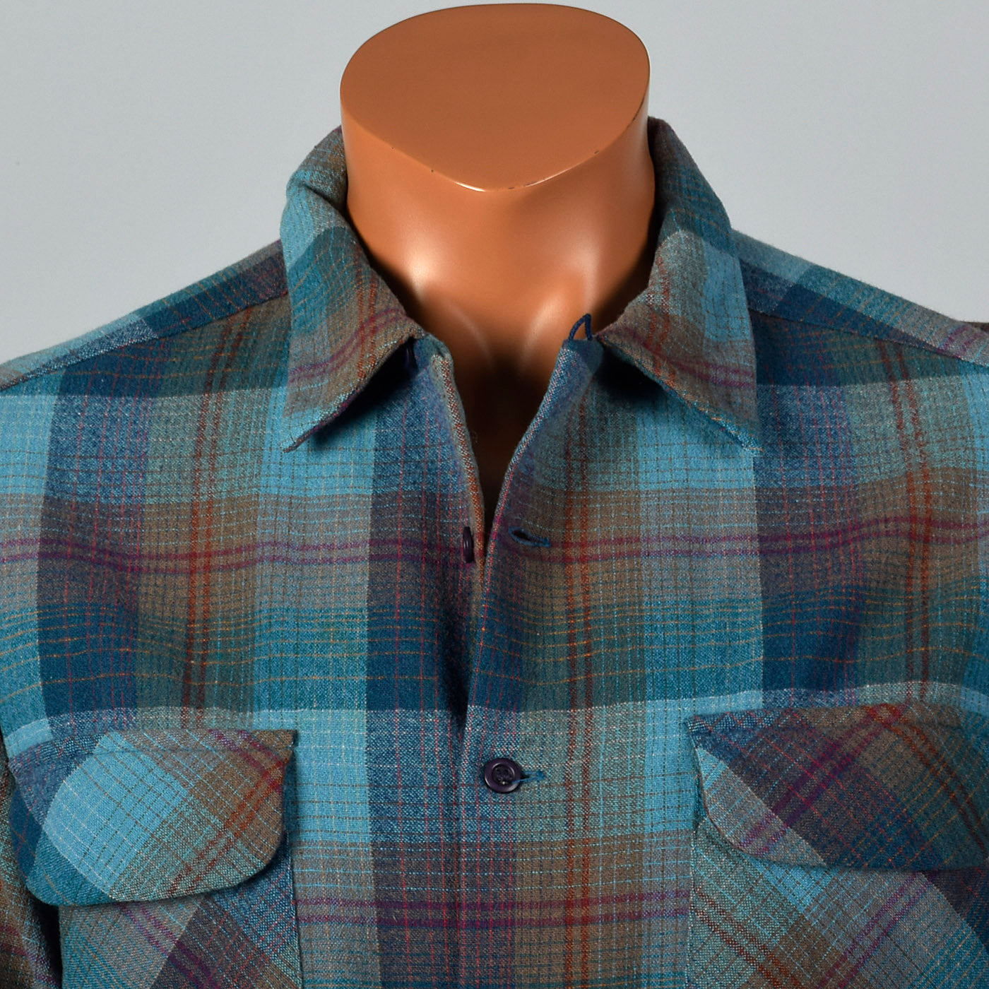 1960s Mens Pendleton Board Shirt in Blue Plaid