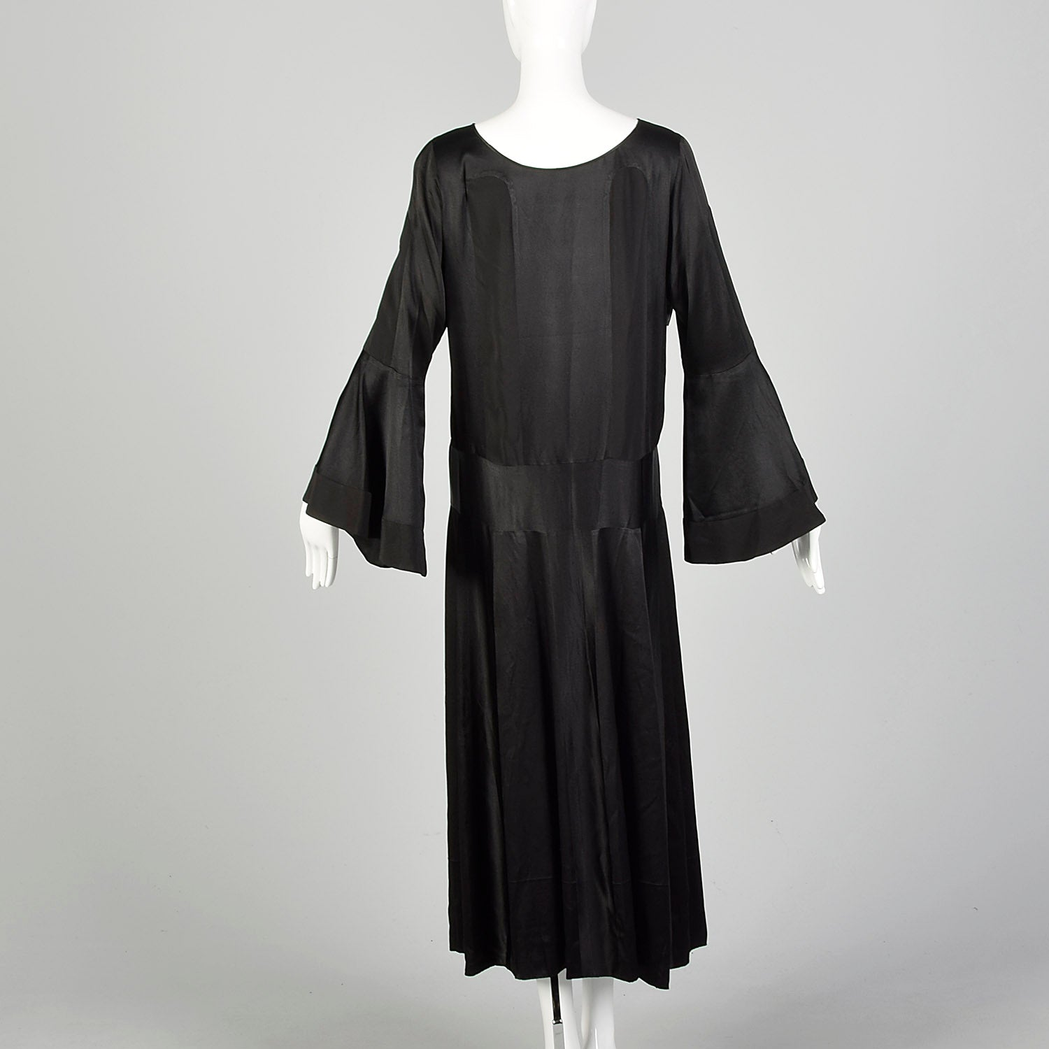 Large 1920s Silk Dress Black on Black Art Deco Trumpet Bell Sleeve Evening Gown