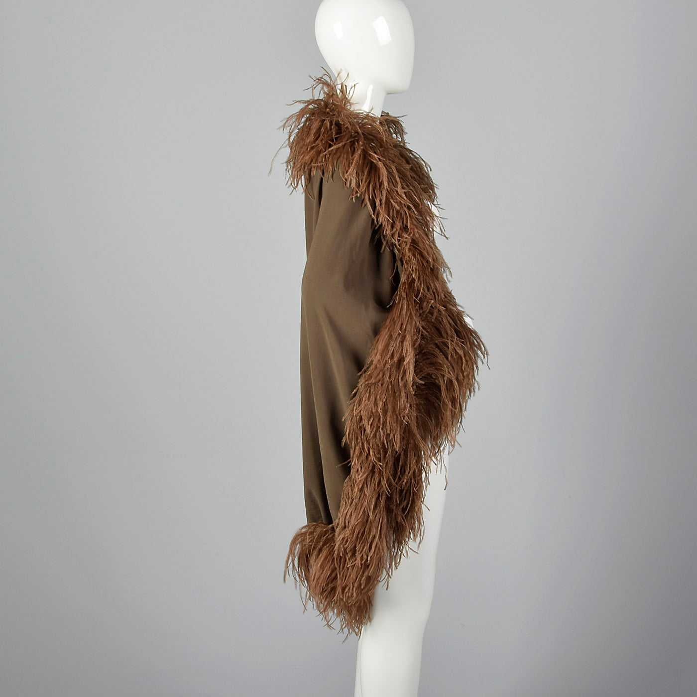 1970s Pierre Cardin Silk Chiffon Cape with Feather Trim