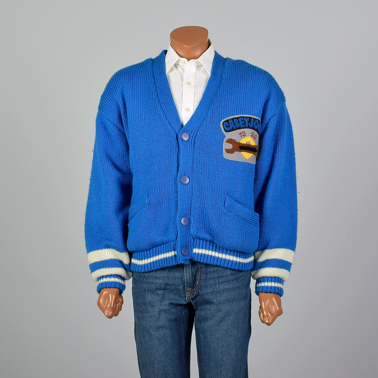 41e21f91f 1990s Blue Knit Novelty Race Car Coat – Style   Salvage