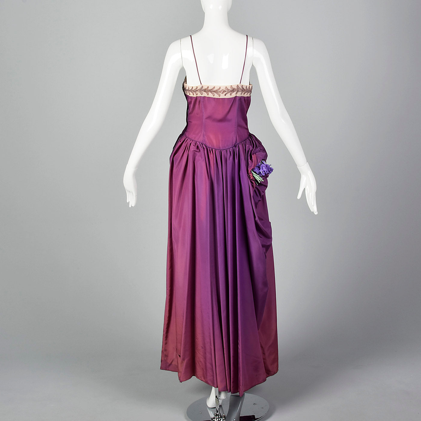 1940s Purple Taffeta Gown with Beaded Neckline