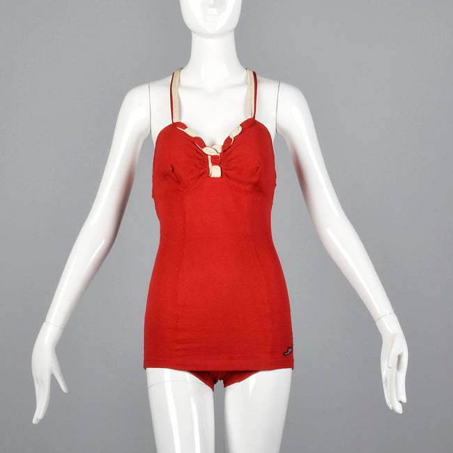 1930s Jantzen Red Swimsuit with Drawstring Back