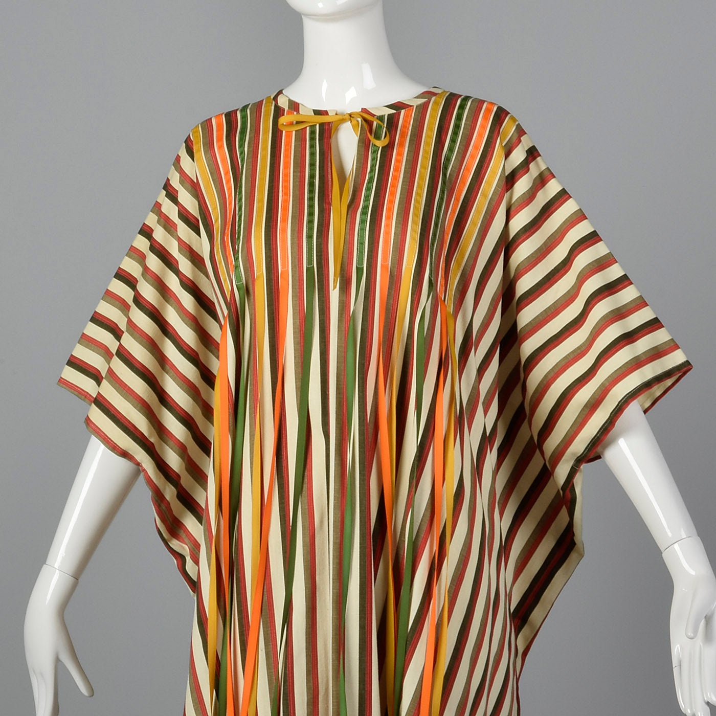 1970s Stripe Cotton Kaftan with Ribbon Fringe