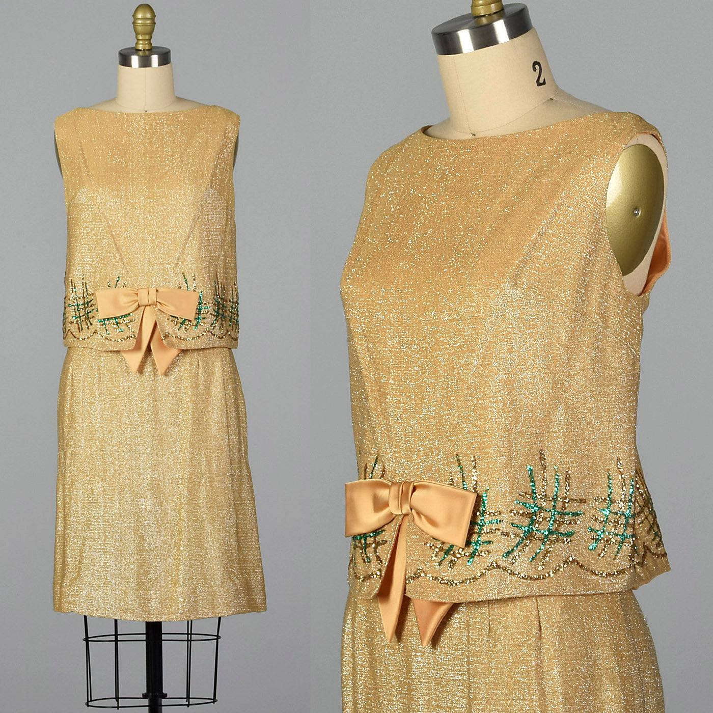 1960s Gold Lurex Skirt Set
