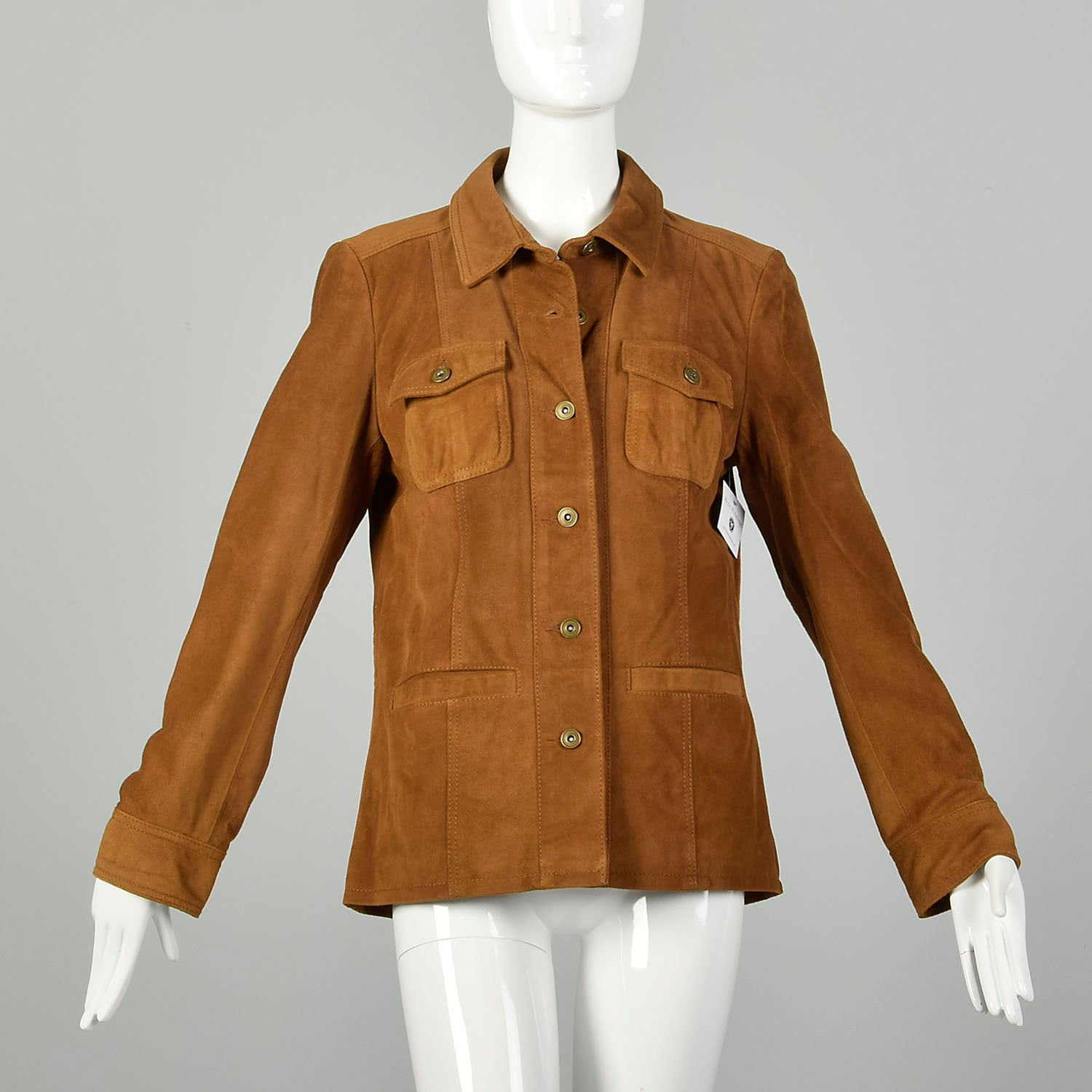 The Territory Ahead Brown Suede Jacket with Donut Buttons