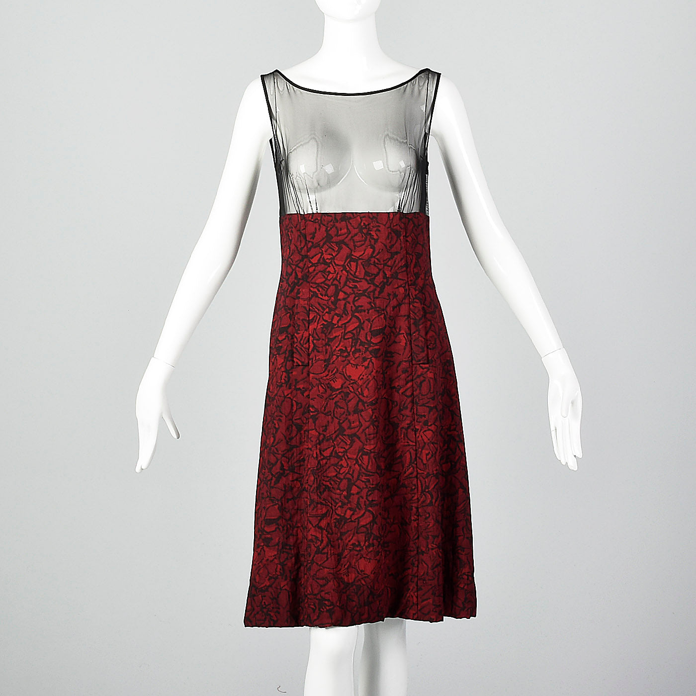 1960s Black and Red Print Dress with Mesh Bodice and Matching Overlay Top