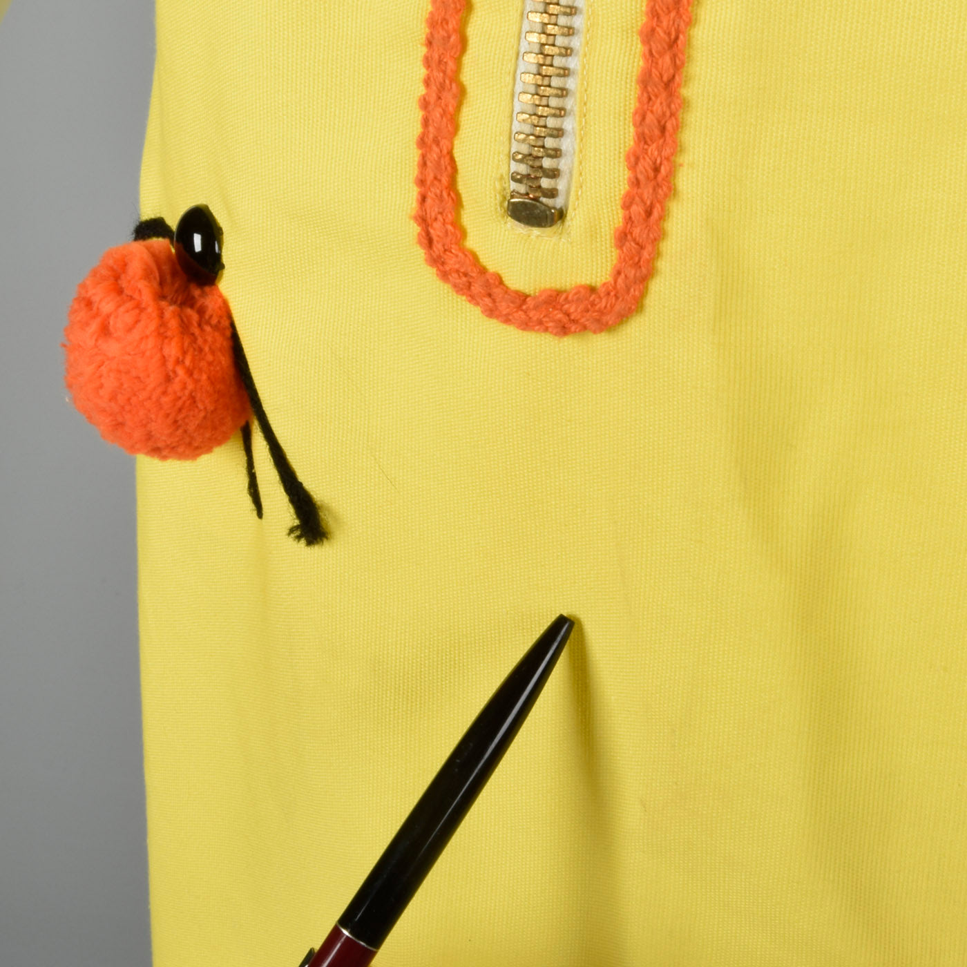 1960s Zip Front Dress with Pom Pom Ladybugs