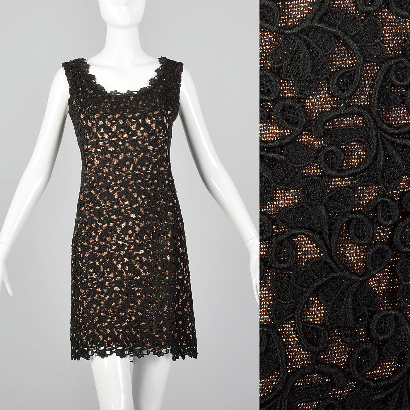 1960s Bronze Lurex Dress with Black Lace Overlay