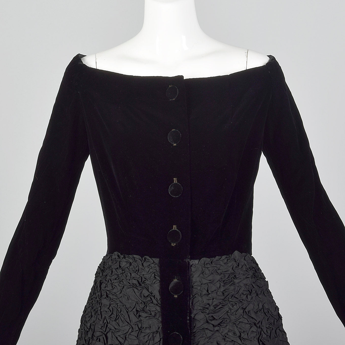 1950s Black Velvet Dress with Textured Skirt