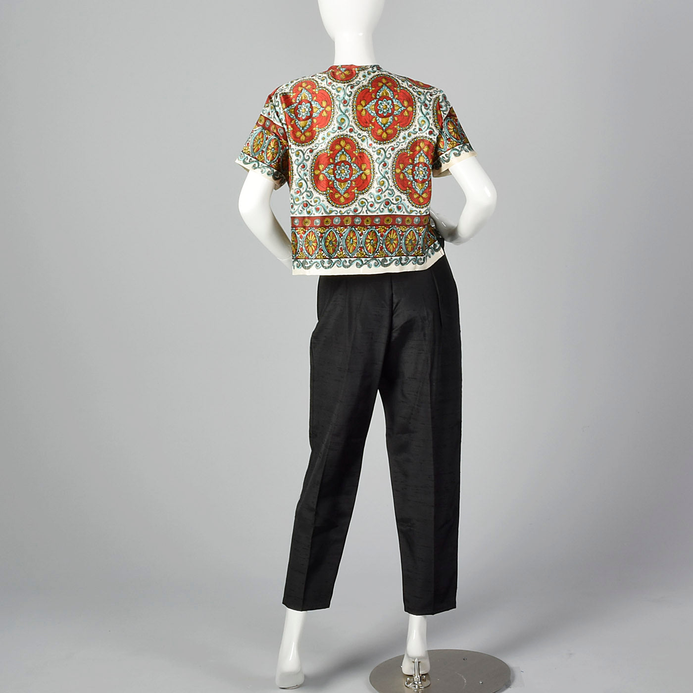 1950s Print Top and Cigarette Pants Set