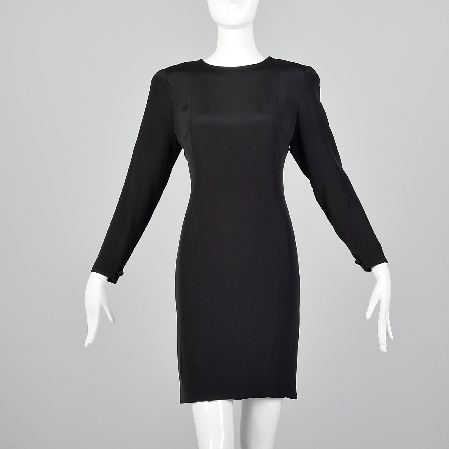 ee04714a317d0 Pauline Trigere Late 1970s / Early 1980s Black Dress