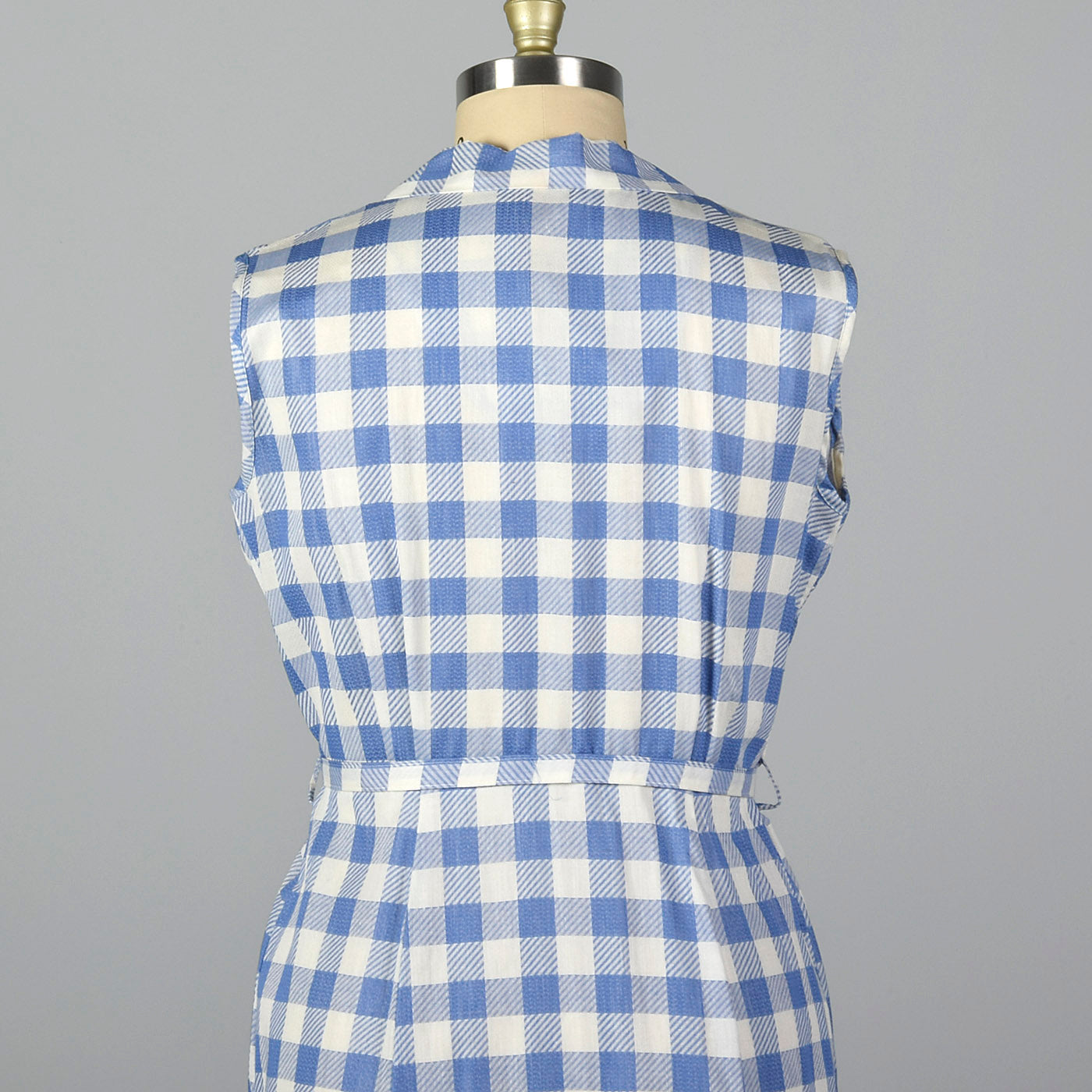 1950s Blue and White Gingham Day Dress