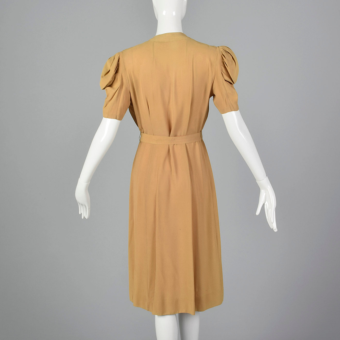 1940s Tan Rayon Crepe Dress with Full Flower Corsage