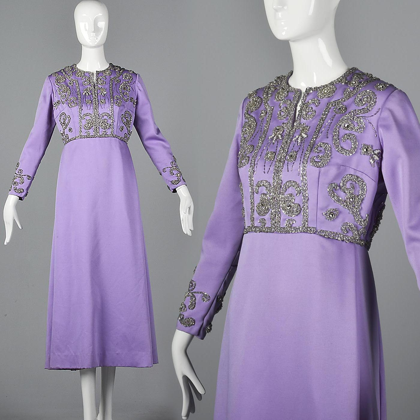 1960s Purple Statin Maxi Dress with Beaded Bodice
