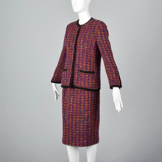Classic Chanel Pink Tweed Skirt Suit