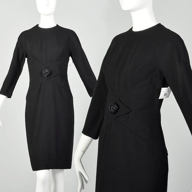 Medium 1960s Little Black Dress Timeless Shelf Bust Bracelet Sleeves Classic LBD