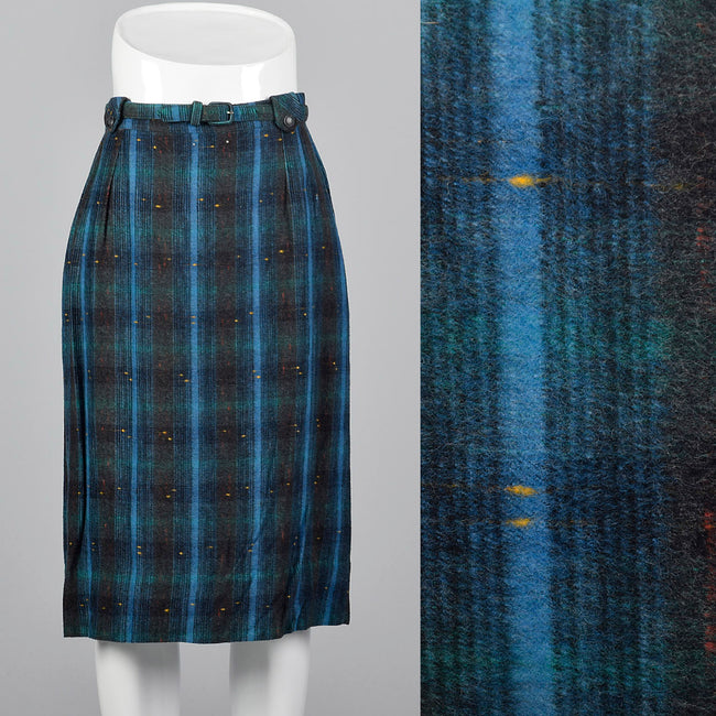 1950s Blue and Green Plaid Flannel Skirt