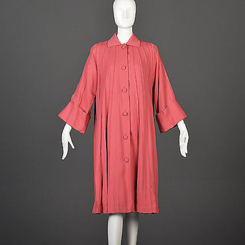 1940s Pink Swing Coat with Faux Pleats