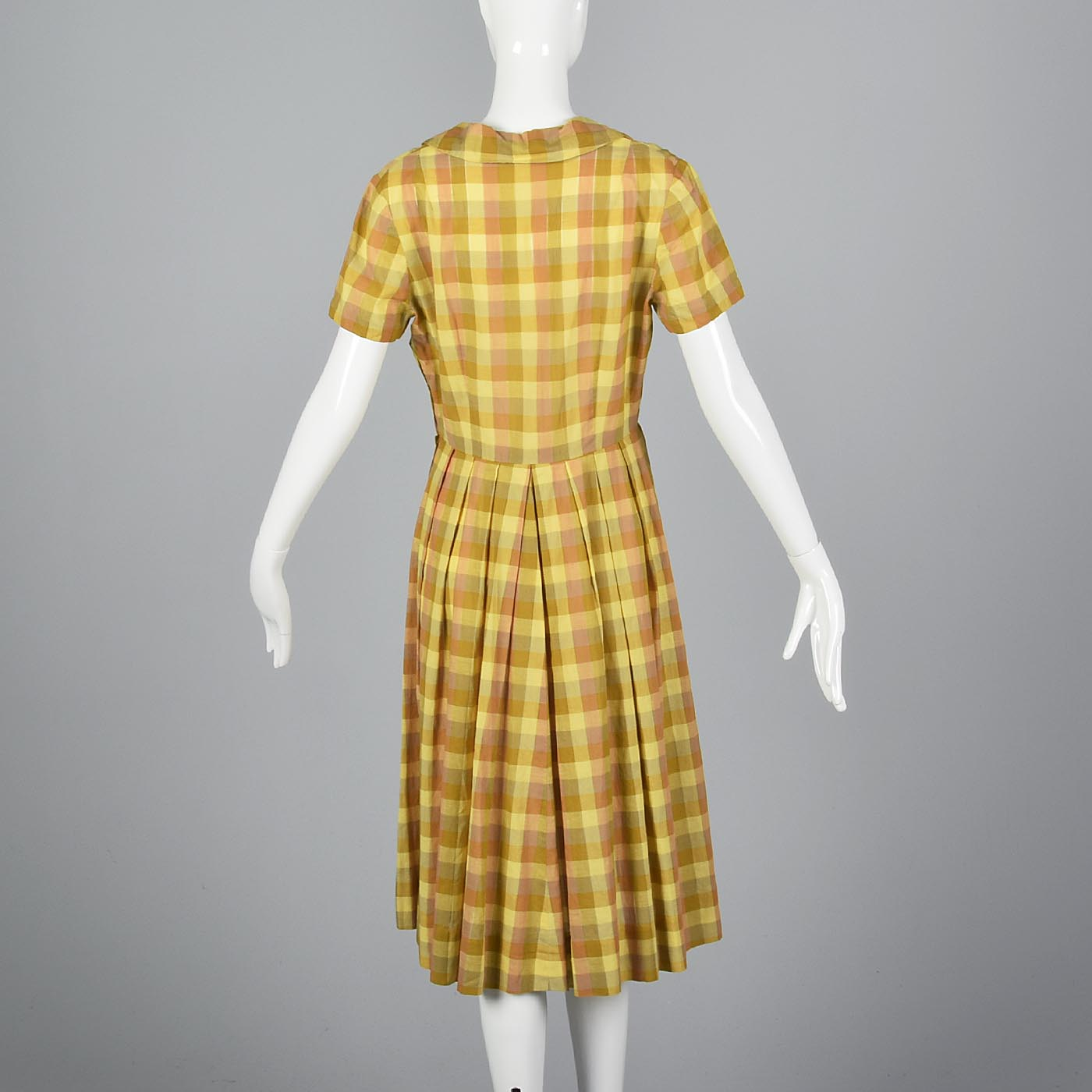 1950s Yellow Plaid Cotton Day Dress