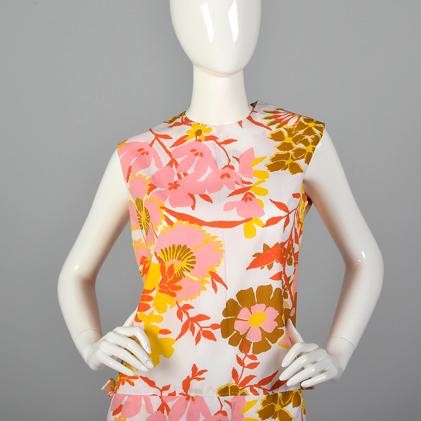 1960s Floral Romper with Overskirt and Zip Open Crotch