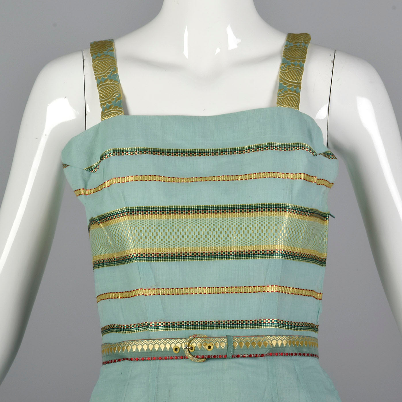 1950s Dress and Jacket Set in Aqua with Gold Trim