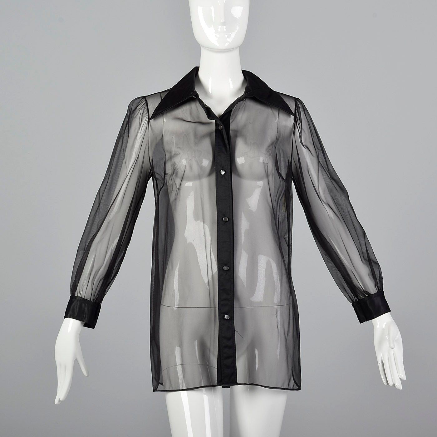 1970s Mary Quant Sheer Black Shirt