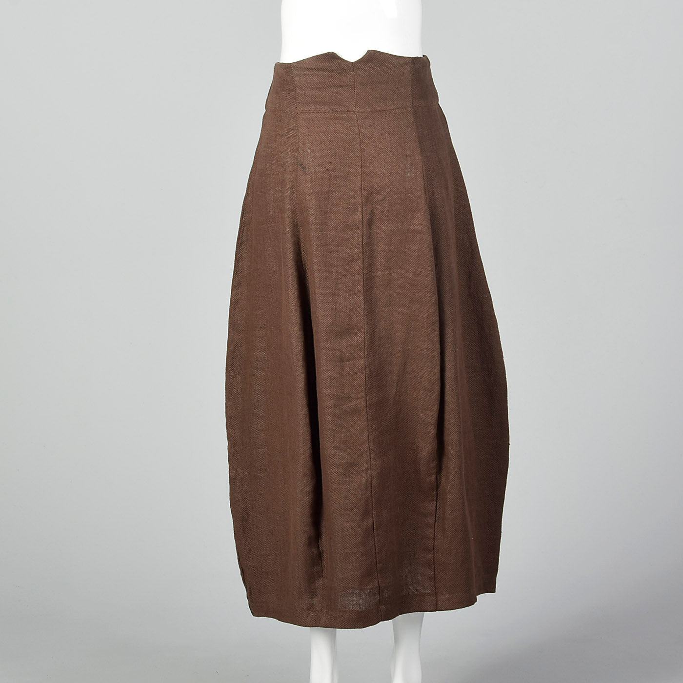 1990s Brown Linen Skirt with Button Front