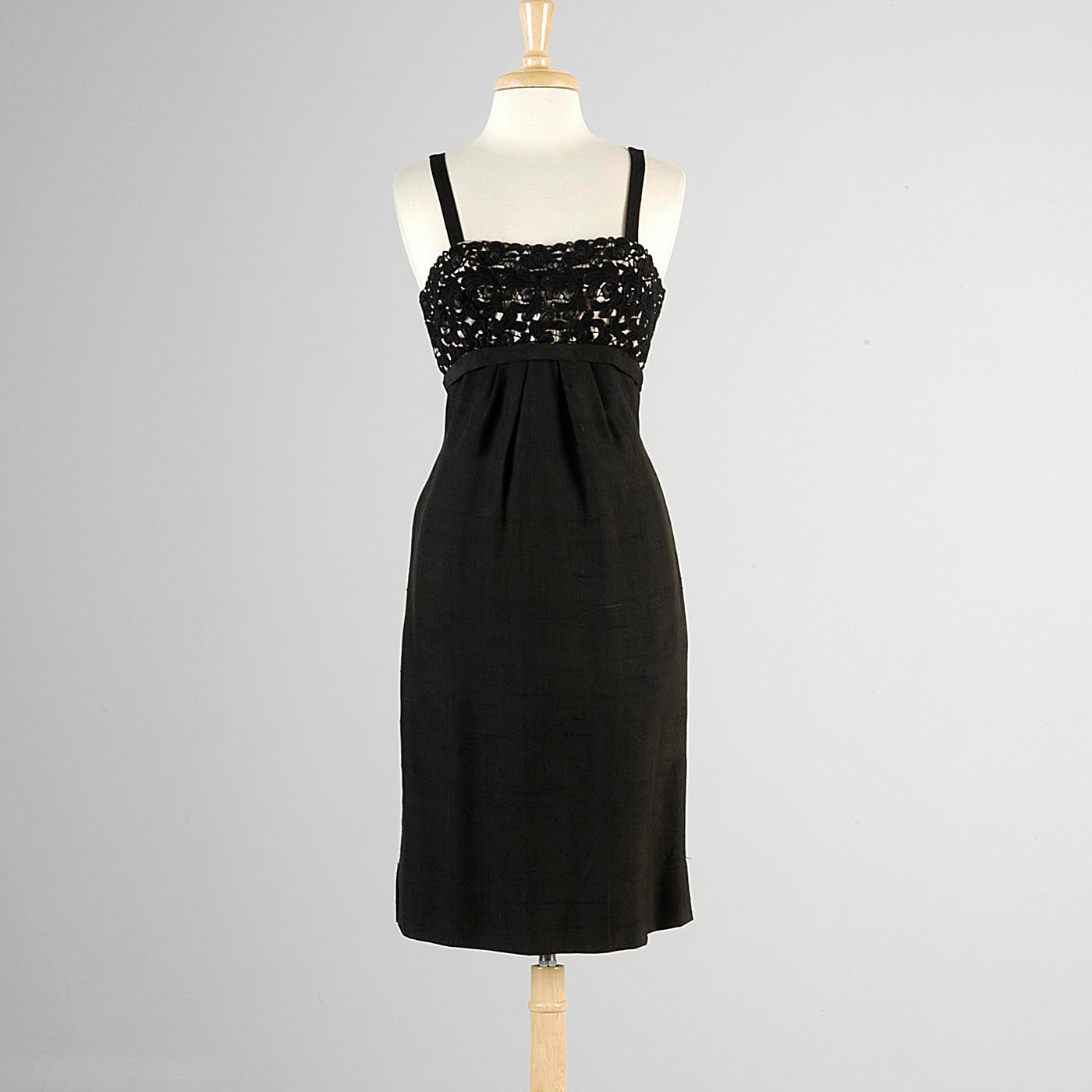 1950s Black Silk Dress with Illusion Bust