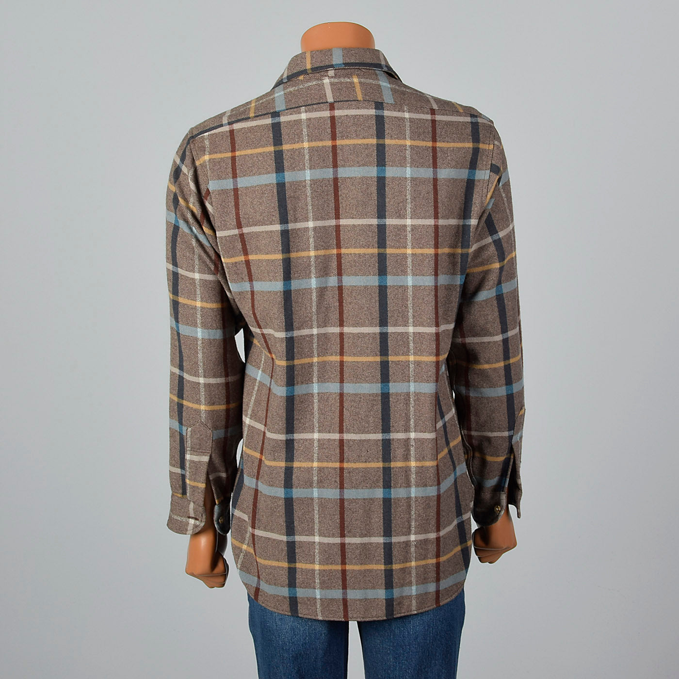 1960s Mens Pendleton Brown Plaid Shirt