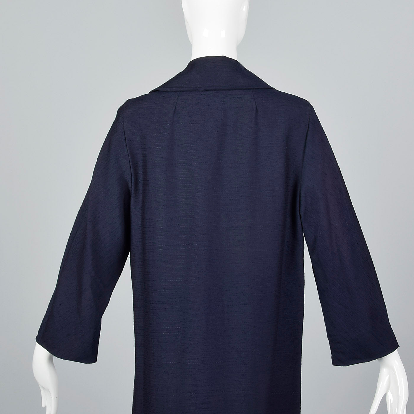 1960s Navy Blue Coat with Ribbon Stripe Taffeta Lining
