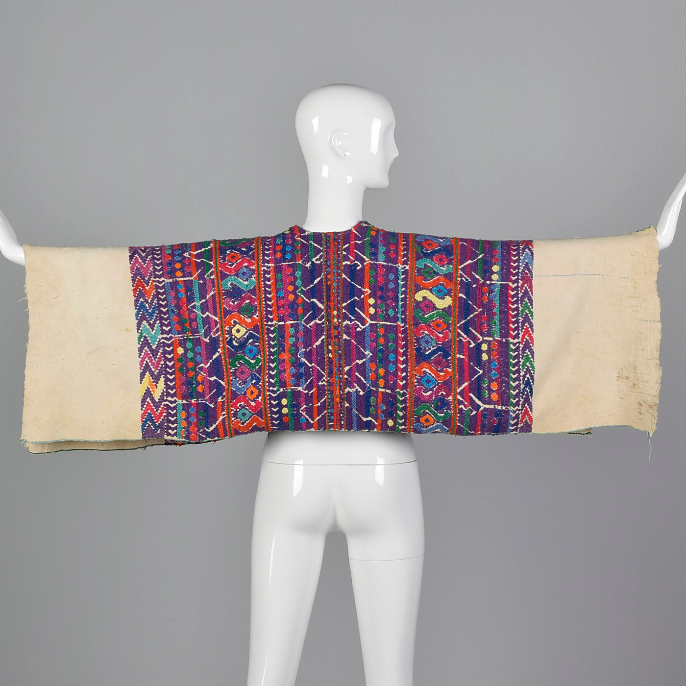 1930s Bohemian Hand Loomed Cotton Huipil Poncho