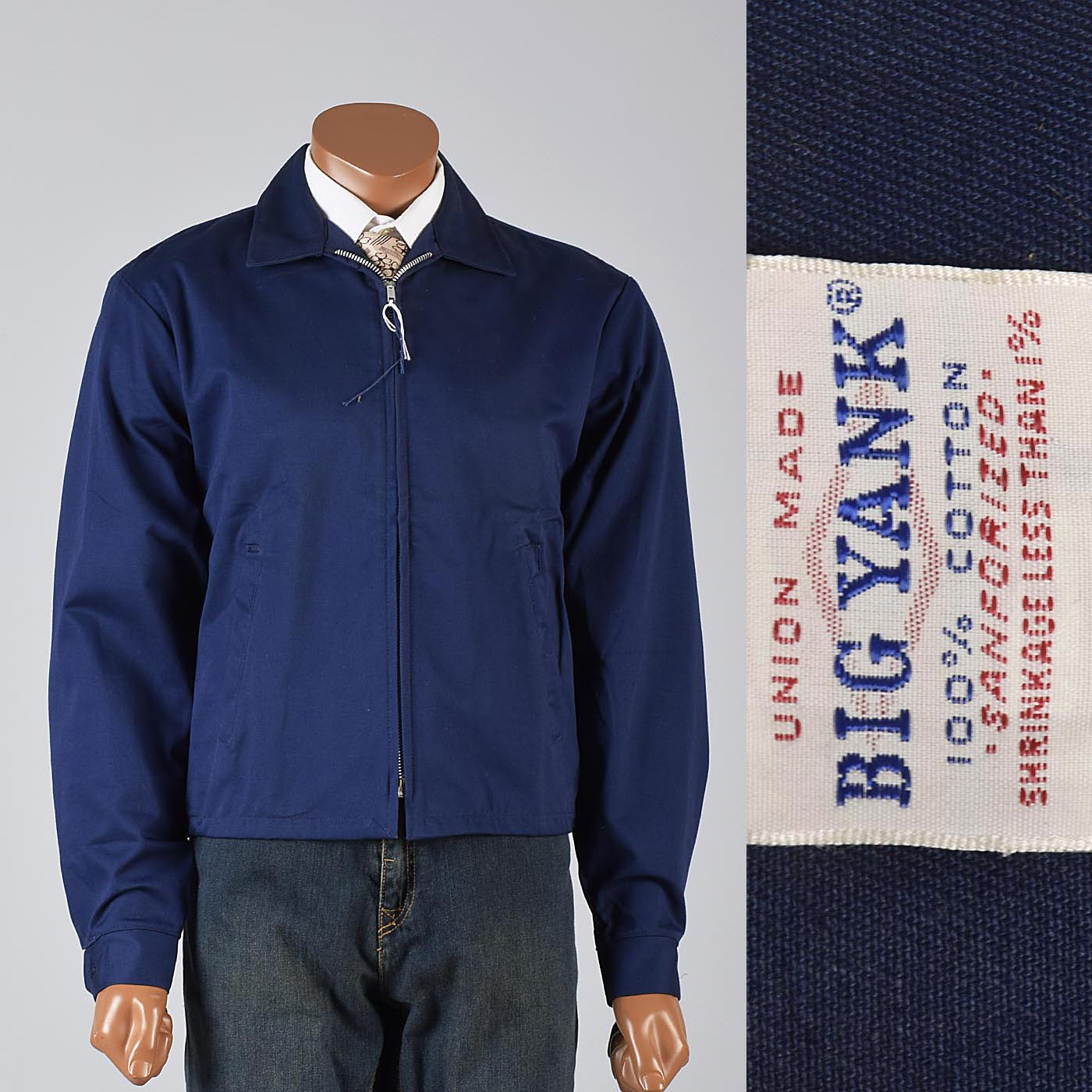 Deadstock 1950s Men's Big Yank Sanforized Blue Work Wear Zip Jacket