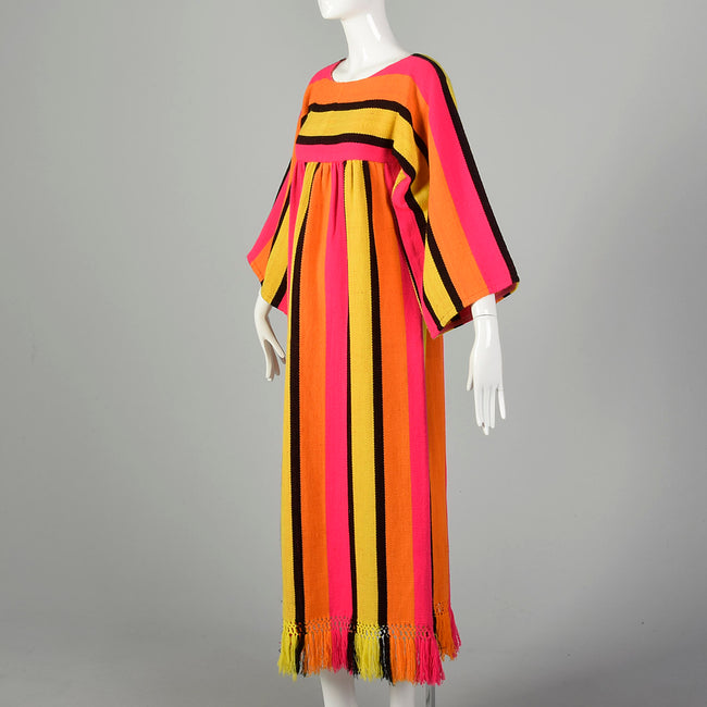 XXS 1970s Dress Long Sleeve Maxi Fringe Hem Hot Pink Bold Stripes