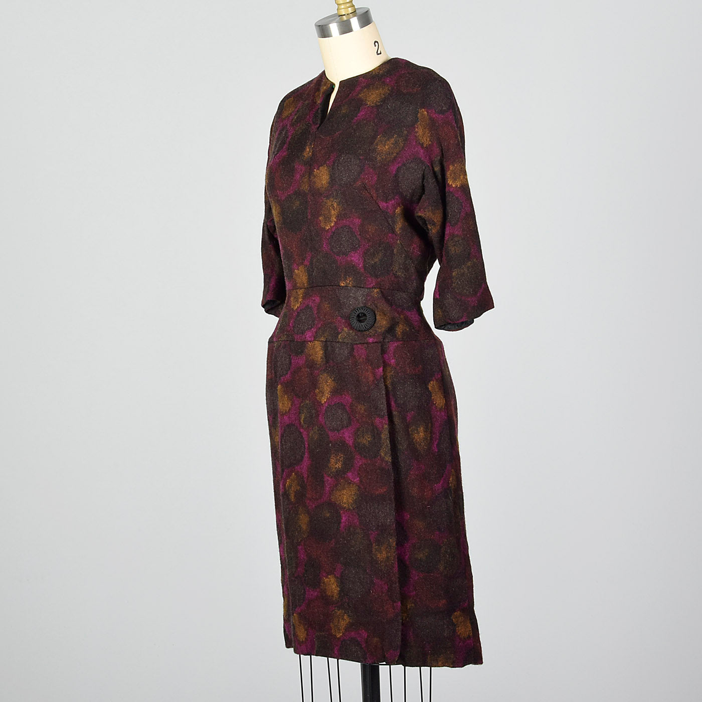 1950s Abstract Purple Print Dress