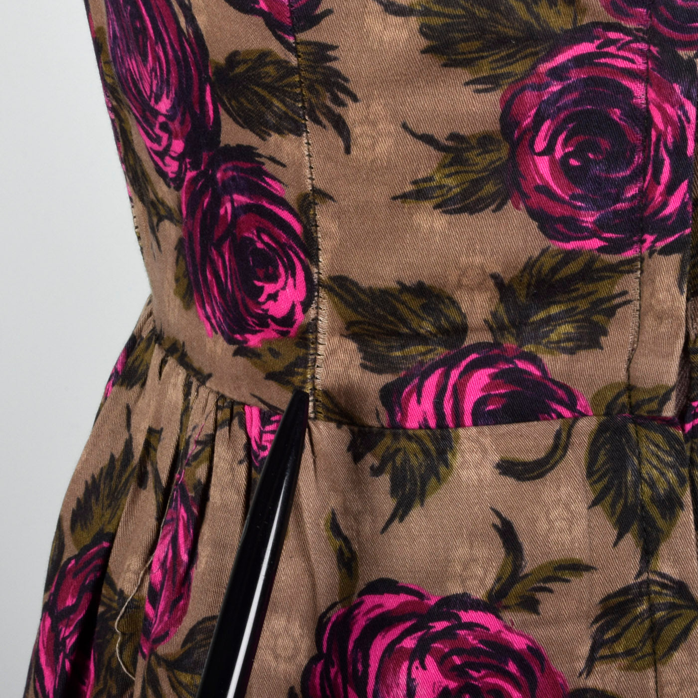 1950s Brown and Pink Rose Print Dress