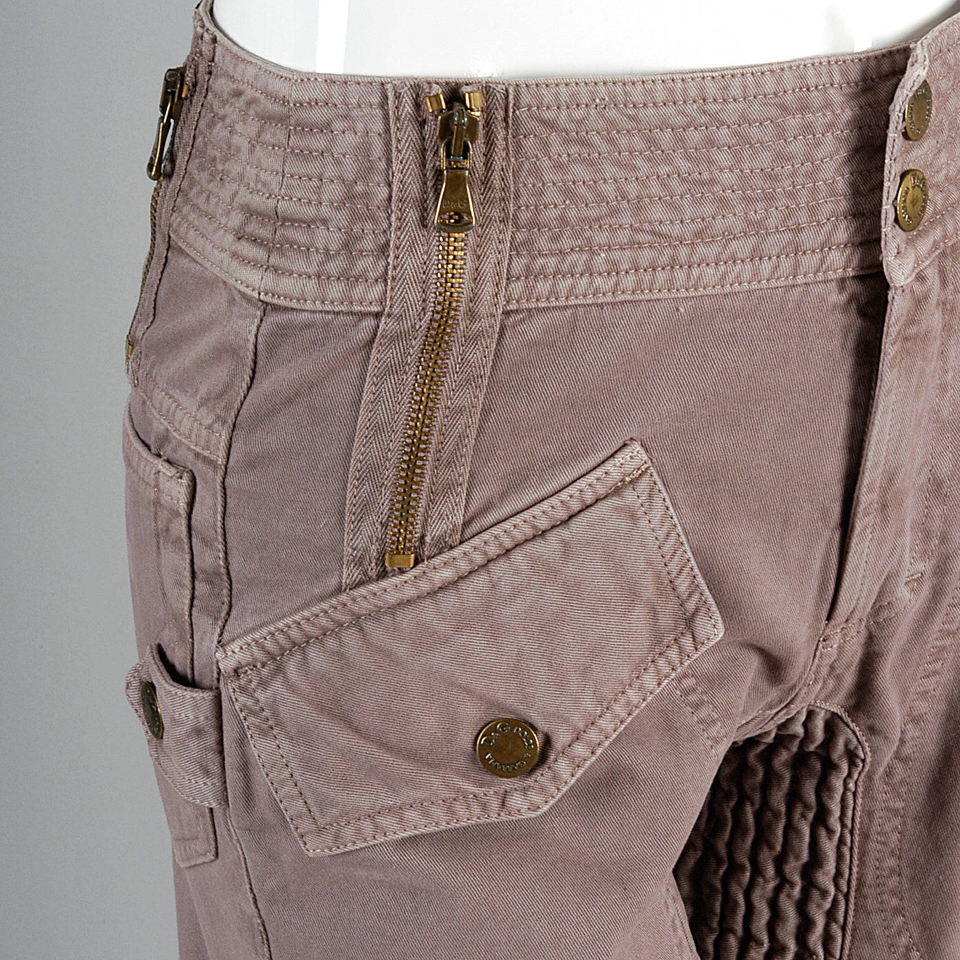 D&G Superior Denim by Dolce & Gabbana Taupe Twill Pants with Zippers Snaps and Smocked Thighs