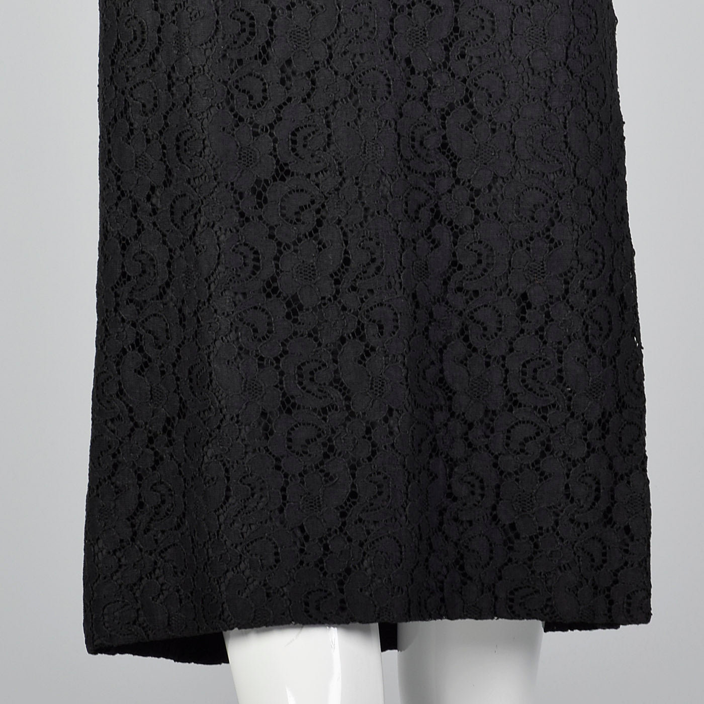 1960s Lace Overlay Shift Dress with Sheer Poof Sleeves